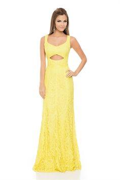 Vestido Longo Renda Recorte Amarelo Sun - roupas-festas-vestido-longo-renda-recorte-amarelo-sun Iorane