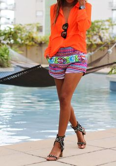 Vibrant summer shorts and blouse! Women's spring summer fashion style