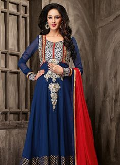Presenting Blue Faux Georgette #Shades #Suits #Designer #Kurti