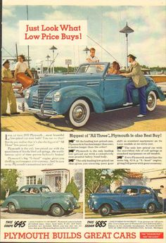 1939 Plymouth Convertible - Coupe - Sedan Vintage 1930s Car/Auto  Photo Ad