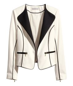 Love! White fitted blazer with black details, perfect for the office or a night out. Product Detail | H&M CA