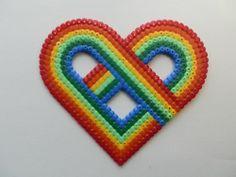 Rainbow heart hama bead magnet by pinkthing123