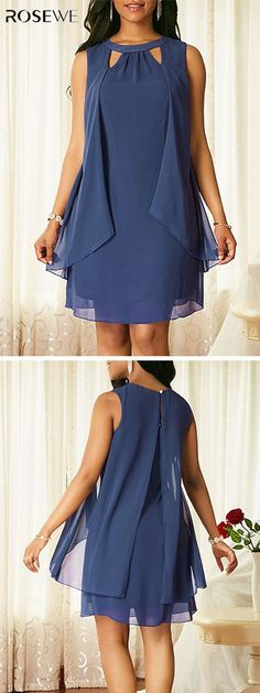 UP TO OFF, Blue Sleeveless Keyhole Neckline Chiffon Dress, more fashion dres. Trendy Dresses, Women's Fashion Dresses, Chiffon Dress, I Dress, Moda Xl, African Dress, Dress Patterns, African Fashion, Designer Dresses