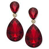Ali Khan Gold-Tone Red Double Teardrop Earrings  $18 at Macy's