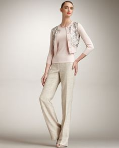 Floral-Beaded Cardigan, Cashmere-Silk Tank & Metallic Tweed Pants by Oscar de la Renta at Bergdorf Goodman.