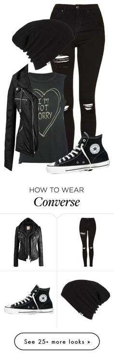"""""""I refuse to sleep"""" by theresa918 on Polyvore featuring Topshop, Full Tilt, Converse and Vans #rock_style_clothing"""