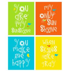 Kids Wall Art  You Are My Sunshine Prints  with by YassisPlace, $59.95