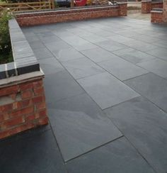 Brazilian Black Natural Slate Paving Slabs - Brazilian Slate Paving stockist and other natural slate or limestone paving available from Mrs Stone Store. Slate Paving Slabs, Limestone Paving, Slate Patio, Patio Slabs, Patio Tiles, Paved Patio, Paving Stones, Grey Pavers, Garden Slabs
