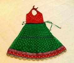 Green Chanderi Silk Pavada
