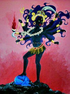 Kali in the Cremation Grounds by Child-Of-Gaea Hindu Deities, Hinduism, Kali Mata, Durga Maa, Shiva, Animation, Deviantart, Artist, Painting