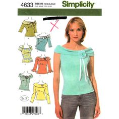 Simplicity 4633 Off Shoulder Top Pattern UNCUT Ruffle or Shawl Collar Size 14 to 22, $9.25