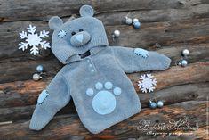 "Купить Кофточка ""Плюшевый Мишка""-2 - серый, однотонный, плюшевая кофта, зверокофта, толстовка Crochet For Boys, Knitting For Kids, Baby Knitting Patterns, Baby Patterns, Crochet Patterns, Baby Girl Sweaters, Knitted Baby Clothes, Crochet Lovey, Baby Cardigan"