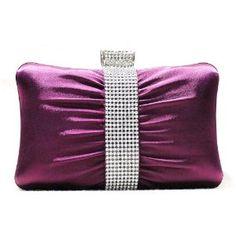 Satin Evening Bag with Rhinestone Hard Case Clutch Wedding and Satin Dress Handbags w/Removable Chain