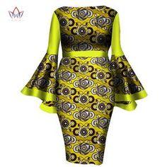 Robe à manches africain femmes robe d'été mode Dame Wax Print robes équipé à mi-mollet Afrique Sexy Bell