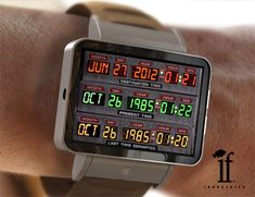"""If Industries: Back to the Future """"Time Circuits"""" concept wrist watch Best Watches For Men, Luxury Watches For Men, Cool Watches, Watch Diy, Led Watch, Digital Watch Face, Future Watch, Bttf, Back To The Future"""