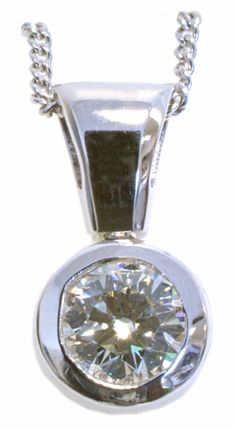 Diamond solitaire pendant 0.46ct tdw bezel set with bail in 14k white gold | www.Hannoush.com