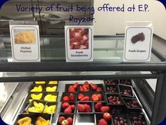Spring is here! Check out the colorful variety of fruit that is available at Denton ISD (TX). K12 School, Merchandising Ideas, Variety Of Fruits, Salad Bar, Spring Is Here, Food Service, Back To School, Strawberry