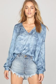 Amuse Society Washed Out Top In Riviera Blue Topshop Style, Topshop Tops, Frilly Shirt, Satin Shirt, Blue Tie Dye, Revolve Clothing, Blue Tops, Style Guides, How To Wear