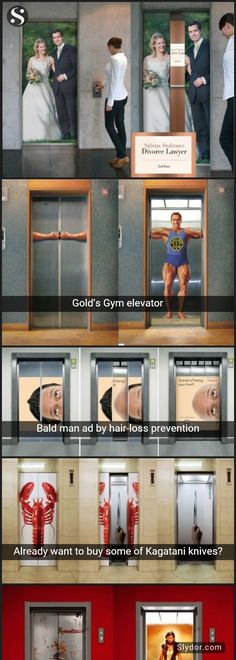 #Weird,#Funny And #Amazing #Elevator #Artworks #Ads #maxwell #goldgym