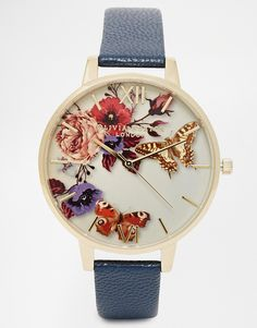 Image 1 of Olivia Burton Winter Floral Face Leather Strap Oversize Dial Watch