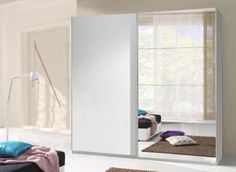instrument TWISTER 3 mirror wardrobe 225cm [white] Mirrored Wardrobe, Bedroom Wardrobe, Hanging Rail, Folding Doors, Mirror Door, Tall Cabinet Storage, Shelves, Modern, Furniture