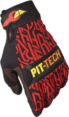 FLY RACING PIT TECH PRO GLOVES RED SZ 9