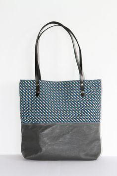 African Leather Tote Bag with Shweshwe, Grey Leather Tote Bag, Tribal Tote, African Print Tote || The Ana Tote