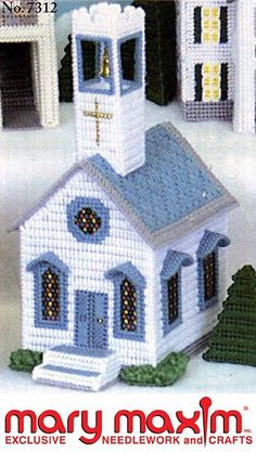 Make this church using yarn and plastic canvas.
