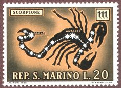 Stamp: Scorpio - The Scorpion (San Marino) (Zodiac) Mi:SM Colnect, connecting collectors. Colnect collectors club revolutionizes your collecting experience! Scorpio Girl, Scorpio Love, Scorpio Zodiac, Gemini, 12 Zodiac Signs, Zodiac Sign Facts, Vintage Stamps, Vintage Cards, Republic Of San Marino