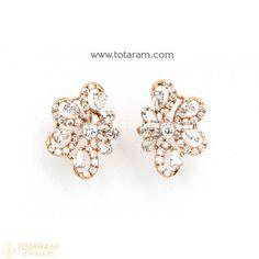 Diamond Earrings for Women in 18K Gold VVS Clarity E-F Color -Indian Diamond Jewelry -Buy Online Diamond Earrings For Women, Diamond Dangle Earrings, Diamond Earing, Women's Earrings, Diamond Jewelry, 18k Rose Gold, 18k Gold, Diamond Jhumkas, Designer Earrings