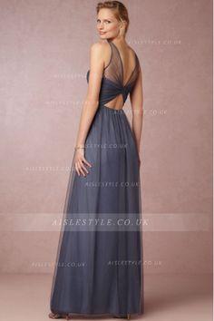 Vintage Illusion Neck Long A-line Tulle Bridesmaid Dress
