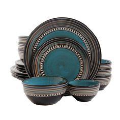Gibson Elite Caf� Versailles 16-piece Double Bowl Blue Dinnerware Set