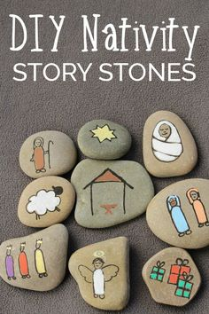 Create your own Nativity Story Stones to help children understand the true meaning of Christmas. These simple stones are easy to make. via Craft DIY Nativity Story Stones Christmas Art, Christmas Projects, Holiday Crafts, Christmas Ornaments, Childrens Christmas Crafts, Christmas Decorations For Kids, Christmas Nativity Scene, Christmas Ideas, Christmas Makes To Sell