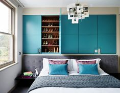 Inspiring examples for bedroom wall decoration. Creative and modern bedroom wall ornaments. Interior, Home, Blue Bedroom Colors, Colorful Bedroom Design, Wall Decor Bedroom, Bedroom Design, Blue Bedroom Design, Interior Design, Luxury Interior