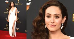 Emmy Rossum in 1920s diamond and natural pearl platinum earrings at the 2016 Emmys.