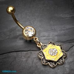 Golden Vintage Lotus Sparkle Belly Button Ring