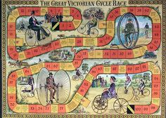 """"""" One to remember last week's Tour de Yorkshire"""" Old Board Games, Vintage Board Games, Games Box, Dice Games, Games To Play, Game Boards, Table Games, Victorian Games, Victorian Era"""