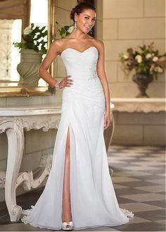Chiffon Wedding Dresses Sweetheart Sleeveless Long Split Summer Beach Bridal Gown