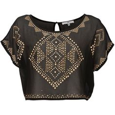 Black and Gold Tribal Stud Crop T-Shirt (7) found on Polyvore