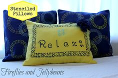 Fireflies and Jellybeans: Stenciled Pillows for a Mother's day gift with Martha!
