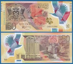 Banknote: Trinidad And Tobago 50 Dollars P New 2015 Unc Polymer Low Shipping! Combine Free