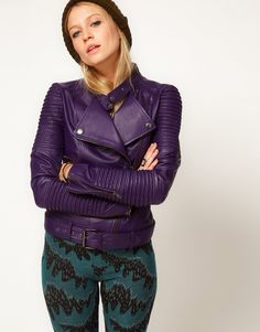 Skip the basic black or brown leather jackets for this purple stunner.