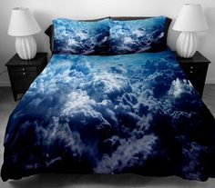 Cloud bedding set blue bedding set cloud bed spread by Drossstre, $168.00