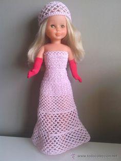 vestido de gala rosa y plata con guantes para nancy (Juguetes - Reproducciones Vestidos y Accesorios Muñeca española Moderna)