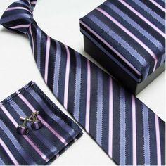 men's fashion high quality neck tie set neckties cufflinks hankies silk ties cuff links pocket handkerchief 14