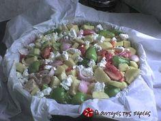Χοιρινό με λαχανικά στη γάστρα Potato Salad, Oatmeal, Potatoes, Breakfast, Ethnic Recipes, Food, The Oatmeal, Morning Coffee, Rolled Oats