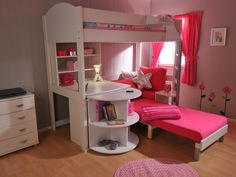 idea 4 BN's bed- I just like the rounded cabinet to extend her desk/ book-shelving