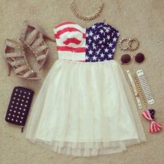 american, bow, casual, crop, fashion, flag, girl, girly, idea, jewels, look, nice, outfit, pretty, print, shoes, skater, skirt, spring, style, summer, sunglasses, tank, top, white