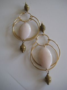 Baroness bali and pink opal swing hoops