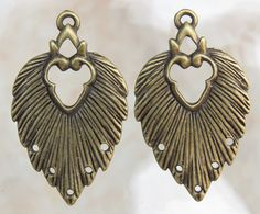 34x20x1mm Antique Brass Alloy Metal Earring Components or Pendants - Qty 2 (G345)
